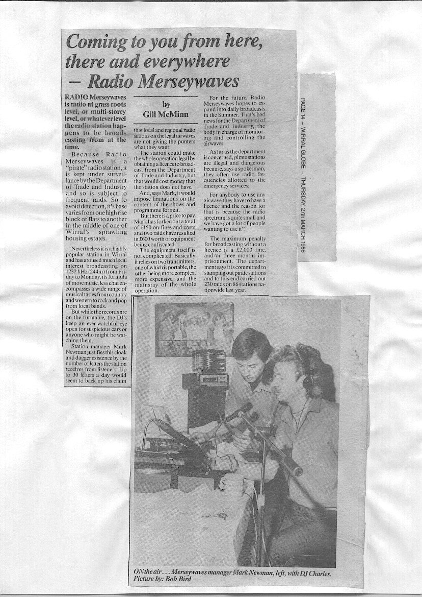 A newspaper article featuring Radio Merseywaves 1242 Khz